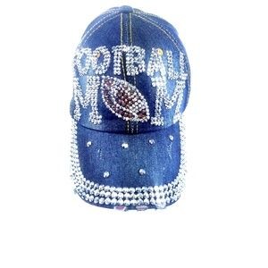 Football Mom Blinged Out Rhinestone Trucker Hat